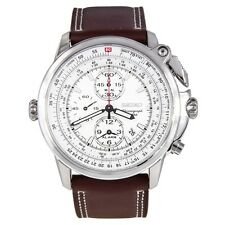 Seiko SNAB71 Chronograph Quartz White Dial Brown Leather Band Mens Watch