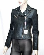 SALE Mackage XS Metallic Black Leather Biker Moto Jacket Women Lady Holiday Gift