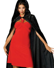 "63"" Long Black Velvet Hooded Cape Cloak King Queen Vampire Renaissance Costume"