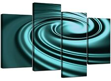 Large Teal Abstract Canvas Wall Art Pictures 130cm XL Prints Set 4060