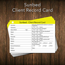 Sunbed Client Card / Client Record Card / Salon Consultation Card x50, A6