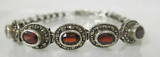 STERLING SILVER 925 MARCASITE AND SYNTHETIC GARNET GEMSTONE BRACELET 7 1/4""