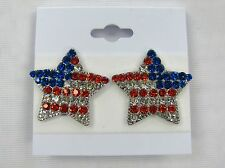 Silver Plated Rhinestone Crystal American Flag Clip On Earrings Red White Blue