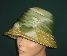 Vintage Green Straw and Folded Fabric High Crown Hat