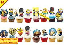 60 Minions Despicable Me 2015 Birthday Cup Cake Fairy Toppers Wafer Edible STAND