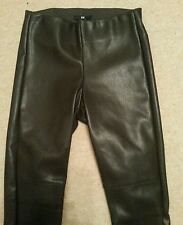 H&M BNWT Brown PU Faux Leather TROUSERS LEGGINGS Size uk6 us2 eu32 W w24in w61cm