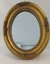 Vintage oval Art Deco Wood Victorian Photo Frame with Mirror