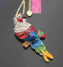 B579H    Betsey Johnson Crystal Enamel Parrot Pendant Sweater Chain Necklace