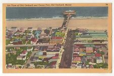 Air View of Old Orchard and Ocean Pier Maine - Vintage 1954 ME Linen Postcard
