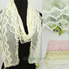 Crochet Floral Dot Lace Thin Mesh Long Scarf Lace Trim Tassel/Infinity Scarf New