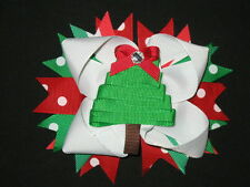 "NEW ""CHRISTMAS TREE"" Polka-Dot Alligator Clips Girls Ribbon Hair Bows Holiday"