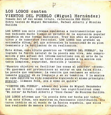 LOS LOBOS-VIENTOS DEL PUEBLO SINGLE VINILO PROMOCIONAL SPAIN GOOD COVER-