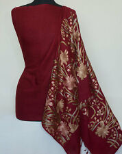Burgundy Wool Shawl with Crewel Embroidery  Kashmir Embroidered Stole Indian