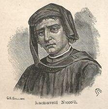 A7274 Niccolò Machiavelli - Stampa Antica del 1928 - Xilografia