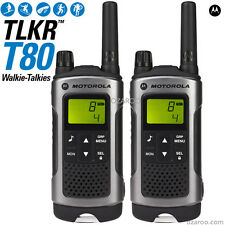 Motorola Talker TLKR T80 2 Way Walkie Talkie PMR 446 Radio 10km - 2 Pack, Silver