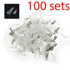 100pcs 4.8mm Crimp Terminal Female Spade Connector 22-16AWG w/ Insulating Sleeve