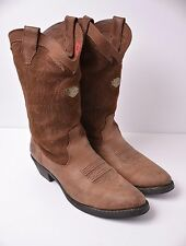Harley Davidson Brown Suede Leather Cowboy Western boots 96022 Mens size 12 / 45
