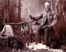 ANTIQUE HUNTING REPRO 8X10 PHOTO HUNTER WITH QUAIL SHARPTAIL PRAIRIE CHICKEN