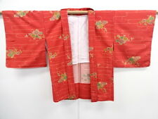 VINTAGE JAPANESE KIMONO, UNUSED HAORI, TSUMUGI, FLOWER & BIRD, JAPAN, CRAFT
