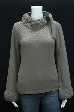 OGO Geral Misses 4 Mushroom Taupe Gold Fleck Heavy Braided Neck Cuffs Sweater