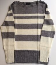 NWOT J. Crew grey and ivory striped boatneck sweater M