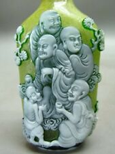 Eximious Chinese Buddha Carved Peking Overlay Glass Snuff Bottle