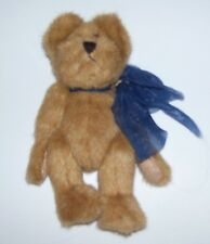 RETIRED 6 AND 1/2 INCH BROWN BOYDS BEAR WITH BLUE FRAYED RIBBON 1990-1999