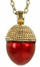 Faberge Inspired  Acorn Shaped Enameled Egg Pendant with a Gold Plated Cap