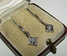 ELEGANT, ART DECO, STERLING SILVER O.13 CARAT NATURAL DIAMOND EARRINGS