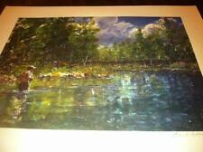 Fly Fishing Trout Stream River Painting Print Signed Reel Rod Orvis S/N Poster