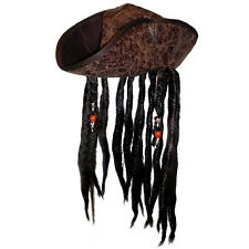 Adult Distressed Brown Carribean Pirate Costume TriCorn Hat w/ Beaded Dred Locks