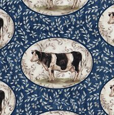 PAINTED COW PORTRAITS Fabric FQ Wedgewood Blue FARM CHIC Folk Art KITCHEN