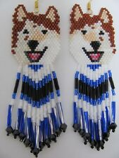 Beaded Laughing Red Wolf malamute Dog earrings with silver lined blue in fringe