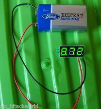"""tiny green led voltmeter 0.28"""" 100v 3 wire $"""