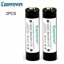 2PCS KeepPower 14500 800mAh 3.7v Protected Rechargeable High Quality Batteries