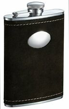 Visol Manzanillo Suede Flask with Oval Plate, 8-Ounce, Dark Olive Green