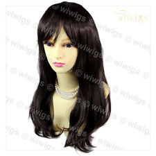 Face Frame Soft Natural Wavy Long Dark Brown Ladies Wig skin top Hair WIWIGS UK