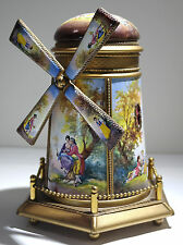 Austrian Painted Large Gilt Bronze & Enamel Windmill Form Music Box 20th century