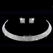 Women Crystal Diamante Rhinestone Choker Necklace Earrings Wedding Jewelry Set