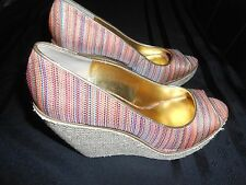 """NINE WEST NW7WILLOW WEDGE 5"""" HEELS SHOES WOMENS SIZE 9 OPEN TOE FREE SHIPPING!"""