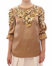 NWT $13000 DOLCE & GABBANA Gold SPECIAL Piece Runway Crystal Blouse Top IT40/US6