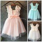 Baby Girls Kids Princess Lace Tulle Flower Fancy Gown Formal Party Wedding Dress