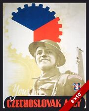 WWII YOUR CZECHOSLOVAK ALLY BRITISH WAR PROPAGANDA POSTER REAL CANVAS ART PRINT