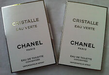 2 x Chanel Cristalle Eau Verte Eau de Toilette Concentree Perfume Sample EDT Lot
