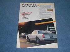 """1987 Monte Carlo SS AeroCoupe Vintage Ad """"Number One Draft Choice"""" Aero Coupe"""