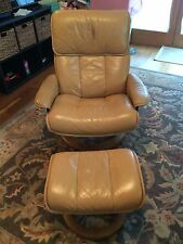 Ekornes Stressless Recliner Swivel Leather Chair with Ottoman