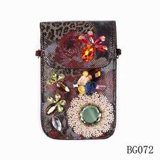 pu leather sexy crystal flower big size mobile phone bags accessories for women