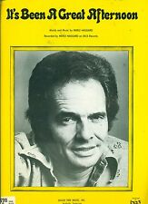 """MERLE HAGGARD """"IT'S BEEN A GREAT AFTERNOON"""" PIANO/V/GUITAR SHEET MUSIC 1978 RARE"""