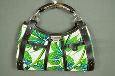 BNWOT Karen Millen brown leather tropical print bamboo handbag