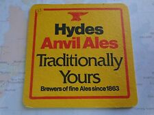 Vintage Beer Pub Coaster ~ HYDES Brewery Anvil Ales ~ Manchester, UK Since 1899
